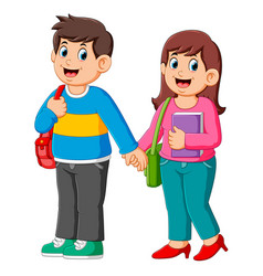 happy boy and girl go to school vector image