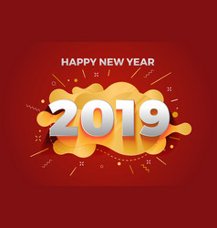 Happy new year 2019 abstract paper cut greeting vector