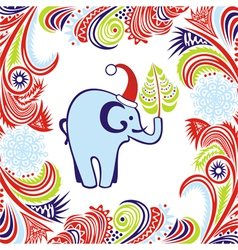 Happy new year merry christmas card elephant vector