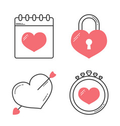 heart line icons vector image vector image