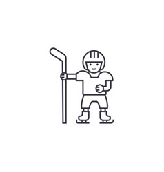 hockey player line icon sign vector image
