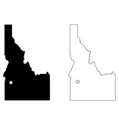 idaho id state map usa with capital city star at vector image