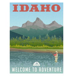 Idaho travel poster fly fishing vector