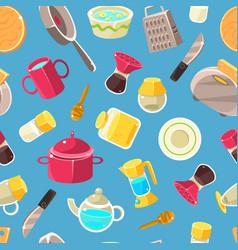 kitchen utensils seamless pattern design element vector image