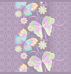 lace border with butterflies and flowers vector image