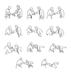 martial arts with hand lock self defense vector image