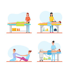 Massage treatment and care isolated icons vector