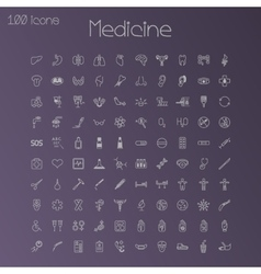 Medical icons Set of 100 pieces vector image