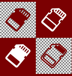 Memory card sign bordo and white icons vector