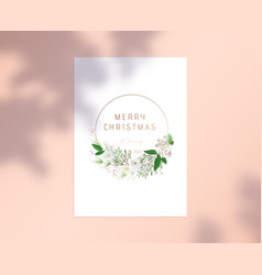 merry christmas card with typography in round vector image