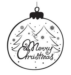 merry christmas hand lettering christmas ball vector image