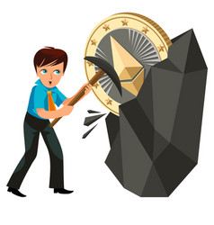 Mining of ethereum crypto currency poster vector