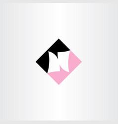 n letter pink black logotype vector image