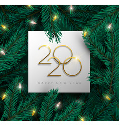 new year 2020 3d pine tree christmas light card vector image
