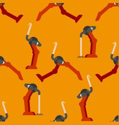 ostrich pattern seamless big bird background vector image
