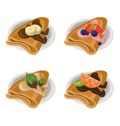 pancakes set chocolate syrop and banana and fruits vector image