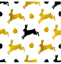 pattern with golden and black rabbits vector image