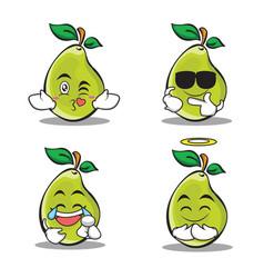 Pear character cartoon of set vector