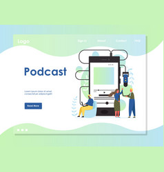 podcast website landing page design vector image
