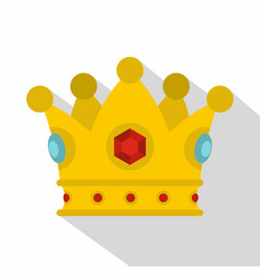 Precious crown icon flat style vector