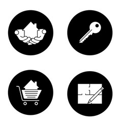 real estate market glyph icons set vector image