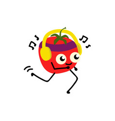 Red tomato jogging while listening to music on vector