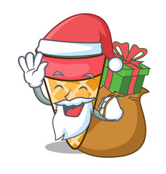 Santa with gift ice cream tone mascot cartoon vector
