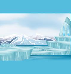 Scene with snow and iceberg vector