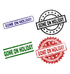 Scratched textured gone on holiday seal stamps vector