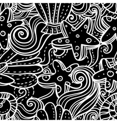 Seamless monochrome sea background vector