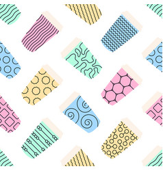 seamless pattern of paper texture cups for coffee vector image