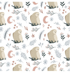 seamless pattern with cute owls and hand drawn vector image