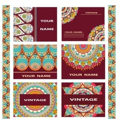 Set business cards invitations decorative flowers vector image