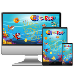 set fish game on computer screen vector image