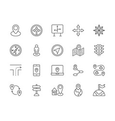 set navigation line icons compass location vector image