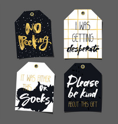 set of 8 funny gift tags lettering and doodles vector image