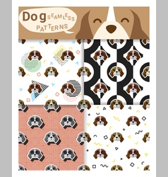 Set of animal seamless patterns with beagle dog 2 vector