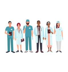 Set of doctors different specialization nurse vector