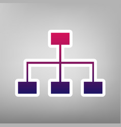 Site map sign purple gradient icon on vector
