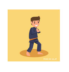 Strong man with martial art pose are ready to vector