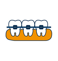 Teeth with brackets ico vector