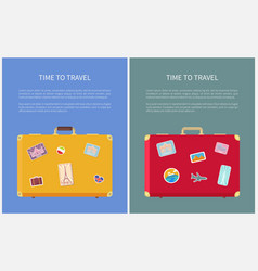 time to travel stickers on luggage set vector image