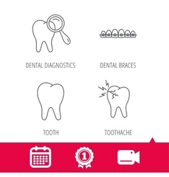 Tooth dental braces and toothache icons vector image