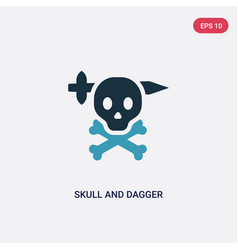 two color skull and dagger icon from shapes vector image
