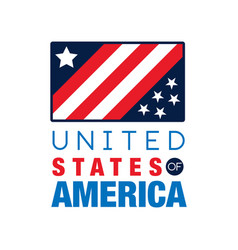 Usa logo template with national flag united vector
