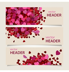 valentine headers set vector image