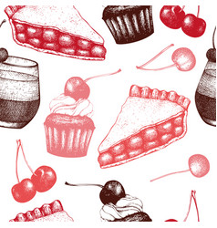 Vintage background with traditional cherry cakes vector