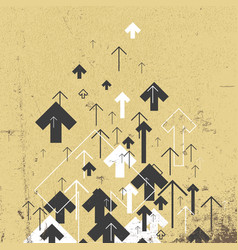 Vintage success concept growing arrows motion up vector