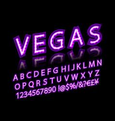 violet pink neon lamp cinema font vector image