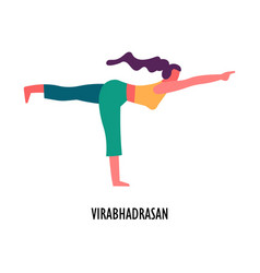 Virabhadrasan pose yoga asana sport and fitness vector